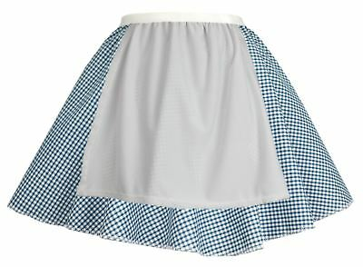 Ladies Blue Gingham Skater Skirt With Apron COWGIRL Easter Fancy Dress
