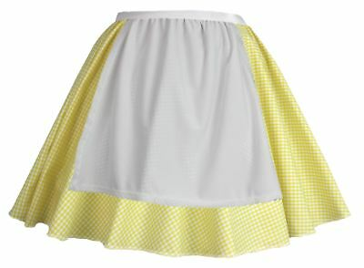 Ladies Yellow Gingham Skater Skirt With Apron COWGIRL Easter Fancy Dress