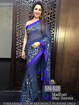 Indian Designer Bollywood Madhuri Blue Sari Asian Wedding Party Wear Sari