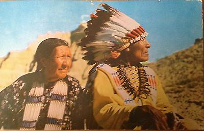 Indian Chief And Squaw 1960's Vintage Postcard (Posted)