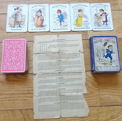 Antique Victorian Playing Cards 'cheery Families' By De La Rue & Co Circa 1893