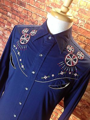 Vtg Western Shirt INDIAN Stitched Rockabilly Psychobilly Pearl Snap Buttons M