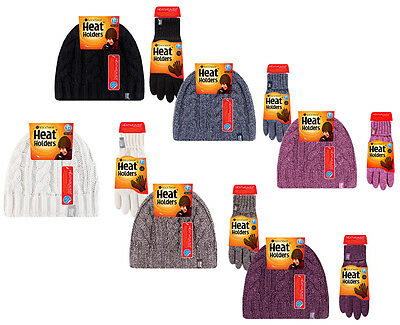 Heat Holders - Womens Warm Knitted Thermal Insulated Winter Hat and Gloves Set
