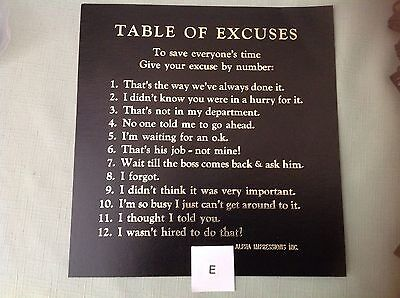 "1985-90""table Of Excuses"" By #s Funny Cardboard Sign With Golden Lettering - New"