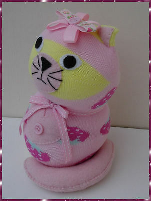 Sock Cat/Sock Animal Cat Soft toy .Pink strawberry design