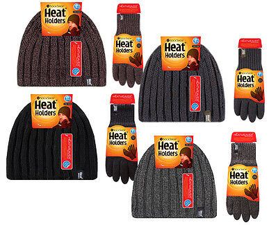 Heat Holders - Mens Fur Lined Insulated Warm Thermal Winter Hat and Gloves Set