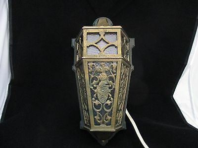 Scarce Antique Bronze Tudor style Porch Sconce Light  Knight & Coat of Arms