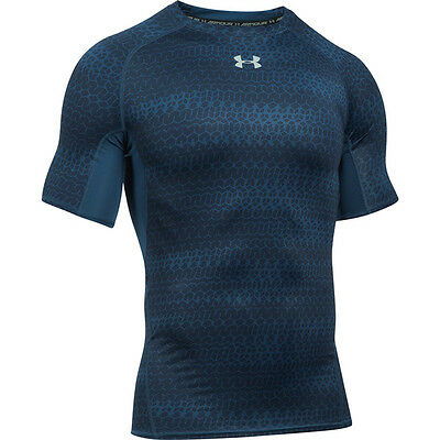 Under Armour Heatgear Compression Printed Short Sleeve Shirt navy 1257477-997 HG