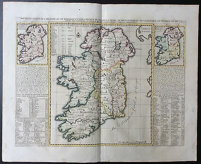 1719 antique map of Ireland by Henri Chatelain