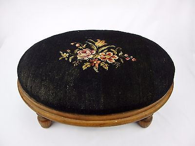 Antique Victorian Needlepoint Oval Foot Stool Black Floral Solid Wood Frame/Legs