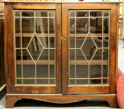 Genuine Antique 1920 Beautiful Elegant Solid Oak Glass Bookcase Display Cabinet