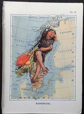 Very rare 1912 caricature map of Scandinavia drawn by Lillian Tennant