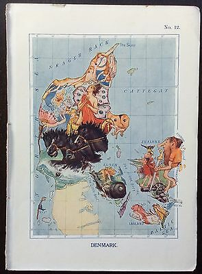 Very rare 1912 caricature map of Denmark drawn by Lillian Tennant