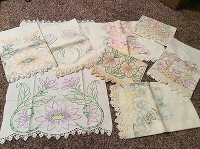 11 Vtg Beautiful Hand Embroidered Crocheted Dresser Scarves*great Hand Work!