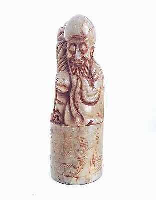 Antique carved soapstone figurine of Chinese immortal Shou Lao