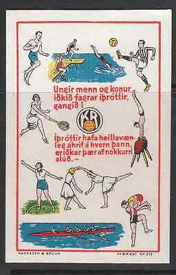 """Iceland Poster Stamp """"Sport"""" -Marked seal no. 215"""