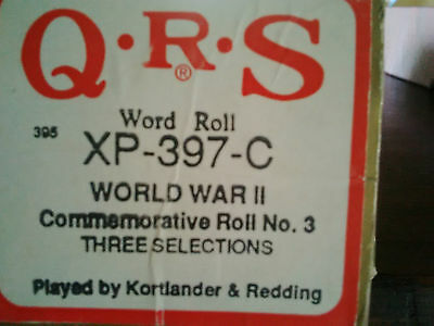 QRS Pianola Roll - WORLD WAR 11 COMMEMORATIVE ROLL NO. 3