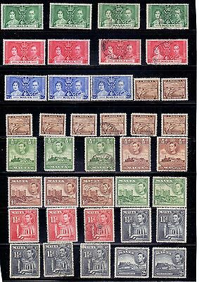 Malta. 67 mint and used KG6 stamps issued 1937 to 1943. Catalogue £117