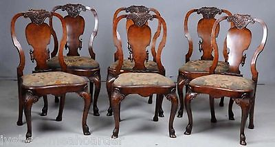 6 Antique Continental Burl Walnut Hoof Foot Dining Chairs Needlepoint Seats