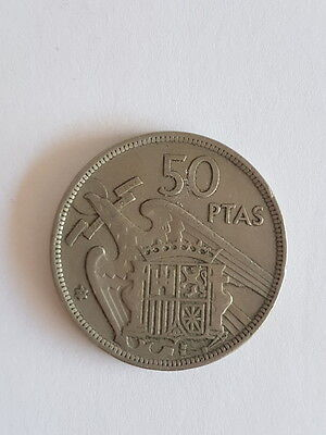 1957 50 ptas Spain coin pesetas