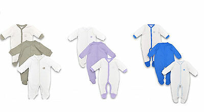 Unisex Boys Or Girls Sleepsuit 3 Pack Long Sleeved 0-18 Months