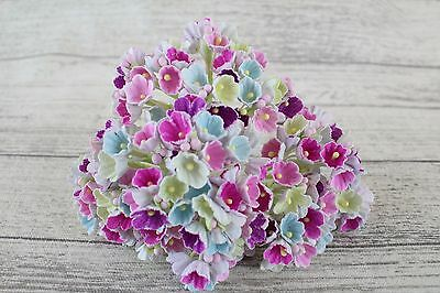 Mulberry Paper Flowers Forget Me Not flower pick MULTI COLOURED 3 Bunches