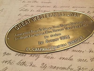 Rare brass sign GREAT WESTERN RAILWAY Absolutely delightful and very collectable