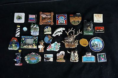 Lot 28 OF Vintage Travel Souvenir Refrigerator Magnets Rubber Resin Metal USA