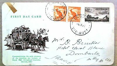 FIRST DAY AUSTRALIA 3&1/2d ROYAL MAIL COACH, 6TH JULY 1955, FDC, SCARCE , STAMPS