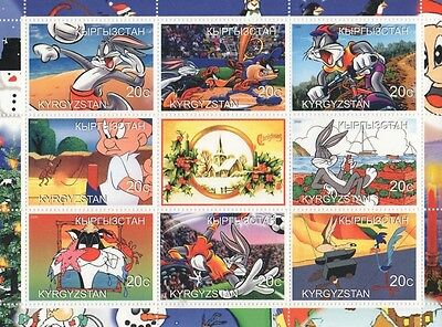 Bugs Bunny Elmer Fudd Wile E Coyote Cartoon Kyrgyzstan 2000 Mnh Stamp Sheetlet