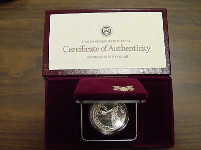 1988 US Olympic Proof Silver Commemorative Dollar with Box and COA