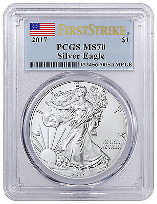 2017 American Silver Eagle PCGS MS70 First Strike (Flag Label) SKU44412