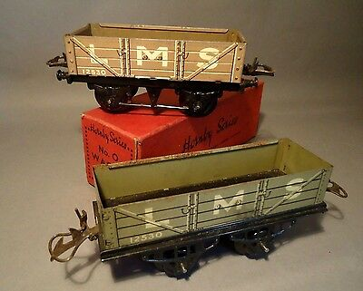 c1936 Hornby Series O gauge LMS open wagons x 2 (one original boxed)