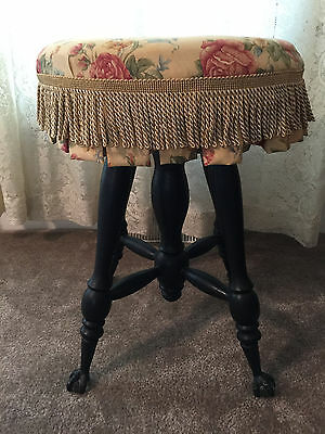Antique Holtzman Piano Stool, glass ball & claw feet, vintage 1890s-1900s