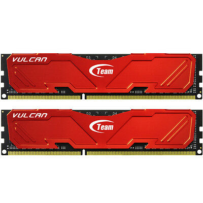 Team Group Vulcan Red 8Gb (2 X 4Gb) Ddr3 Pc3-19200C11 2400Mhz Dual Channel Kit