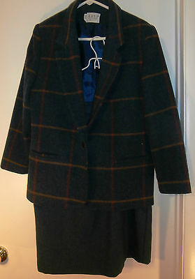 Vintage Blue Suit Skirt Blazer Plaid Wool Size 12  Russ Petites Fully Lined
