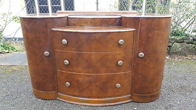 A Beautiful Vintage Walnut Veneer Dressing Table/Chest with Drawers & Cupboards