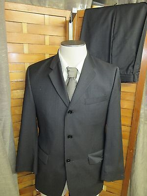 DKNY Essentials Executive Charcoal Chex Wool 3 Button Blazer Suit SZ 38S