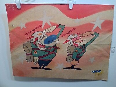 Vintage Ren & Stimpy Poster 1990S 2 Sided Nickelodeon Collectors Rare 90210