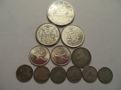 Lot of 12 Canada Silver Coins, 80% silver, mixed dates & denominations