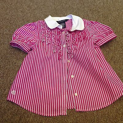 Pink and White Striped Blouse Ralph Lauren 24 Months Ruffles