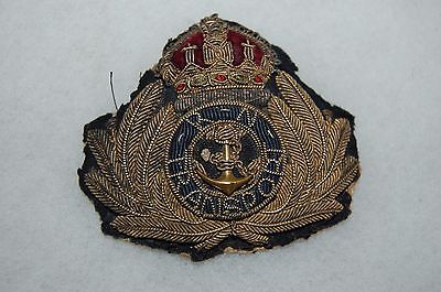 WW1 to WW2 British Royal Navy Transport Officer's Cap Hat Insignia (Canadian?)