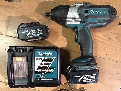 MAKITA BTW450 18v lithium-ion IMPACT WRENCH, 2 x BATTERIES, nut gun