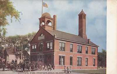 Rock Island Il Vintage View Of The Fire Department With Firemen Postcard