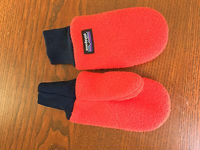 Patagonia Baby Pita Pocket Fleece Mittens Mitts - French Red / Navy - Size 3m