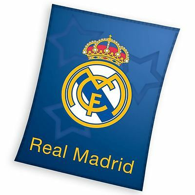 Real Madrid Blue Fleece Blanket Childrens Bedroom Blue 110Cm X 140Cm Official