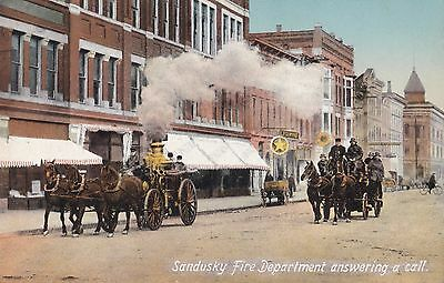 Sandusky Oh Vintage View Fire Department With Firemen Answering A Call Postcard
