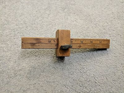 Antique all-wood double carpenter's scribe