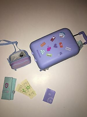 American Girl Doll Luggage Suitcase Passport Airline Carry On Tickets LN EUC