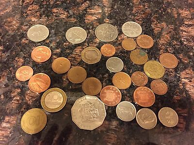 29 different foreign coins, foreign countries-international world coin lot